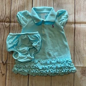 Ralph Lauren Dress With Bloomers Size 6M Blue